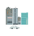 set of residential and commercial buildings car vector image vector image