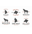 set vintage wolf logo and label design elements vector image