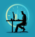 silhouette of a man working overtime vector image vector image