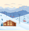 ski resort with red chair lift house chalet vector image vector image