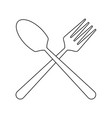 spoon and fork in black and white vector image