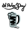 st patricks day lettering with a glass of beer vector image