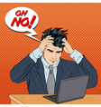 Stressed Man at Work Man Grabbed His Head vector image vector image