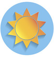 sun icon paper style vector image