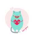 sweet card for valentines day with blue cat vector image