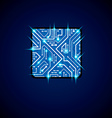 technology cpu design with square blue neon vector image vector image
