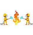 Two firemen putting out the fire vector image vector image