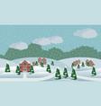 village winter christmas landscape scene vector image