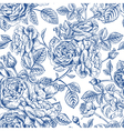 Vintage seamless pattern with garden roses vector image vector image
