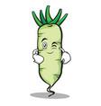 wink face white radish cartoon character vector image vector image