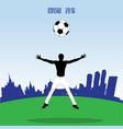 young athlet with football ball vector image