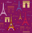 seamless pattern with landmarks of paris vector image