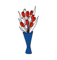 A tulip on vase vector image vector image