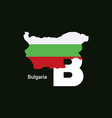 bulgaria initial letter country with map and flag vector image vector image