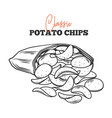 bunch potato chips spilled vector image vector image