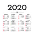 calendar 2020 isolated on white background week vector image vector image