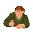 Cartoon man torso in green jacket with one eye vector image vector image