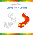 Centipede coloring book educational game vector image vector image