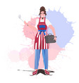 chef wearing apron with usa flag happy labor day vector image