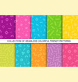 collection trendy seamless bright vector image vector image