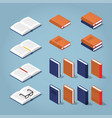colorful isometric book collection vector image vector image