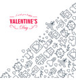 creative valentines day frame sketch composition vector image