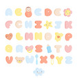 cute baby alphabet and elements set vector image