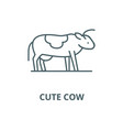 cute cow line icon cute cow outline sign vector image vector image