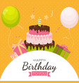 cute happy birthday background with gift box cake vector image vector image