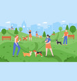 dogs at park pets playing in dog park people vector image vector image