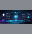 earth globe hologram with hud ui gui interface vector image vector image