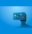 electronic credit card and watch icon finance vector image