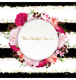 elegance flowers frame of color roses and tulips vector image vector image
