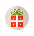 gift box with bow surprise flat colored icon vector image vector image