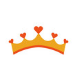 girly princess royalty crown with heart jewels vector image