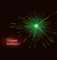 green fireworks greeting holidays background vector image vector image