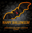 happy halloween greeting card with black bat vector image vector image
