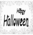 happy halloween words from spider webs white vector image