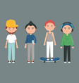 happy young boys with youth urban style characters vector image vector image