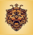 head king lion logo with ornaments vector image vector image