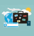 icons set traveling objects tourism vector image