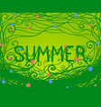 inscription summer with swirls and flowers vector image