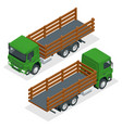 isometric flatbed truck template isolated on white vector image