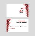 jj logo on red black business card vector image vector image