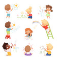 kids artists children playing and drawing vector image vector image