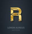 Letter R elegant gold font Template for company vector image