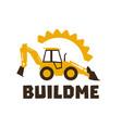 logo backhoe loader orange construction equipment vector image vector image