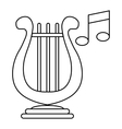 Lyre and two notes icon outline style vector image vector image