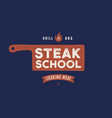 meat logo logo for cooking school with icon chef vector image