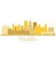 medellin colombia city skyline golden silhouette vector image vector image